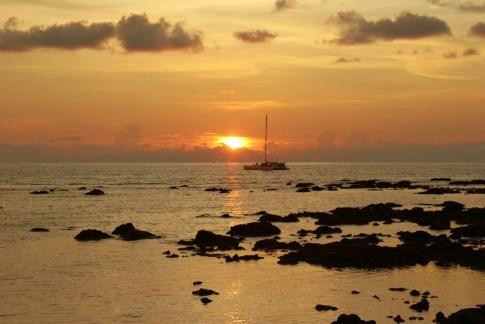 Sailboat at sunset on Klong Khong Beach in Koh Lanta, Thailand