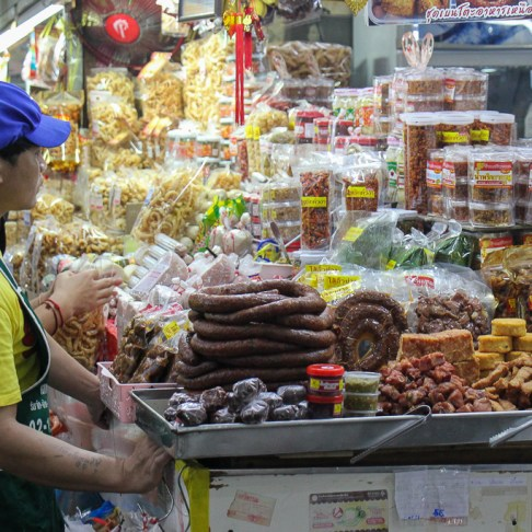 Sausage market stall in Chinatown Market in Chiang Mai, Thailand