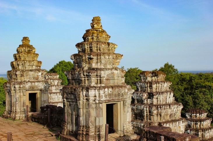 Remaining towers at Phnom Bakheng at Angkor Park in Siem Reap, Cambodia