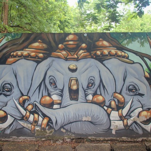Elephant street art in Chiang Mai, Thailand