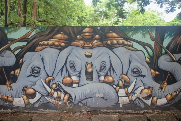 Elephant street art in Chiang Mai, Thailand