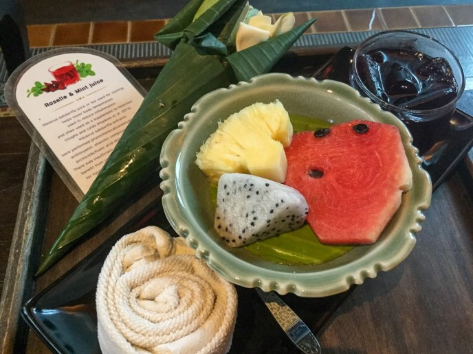 Fruit and juice at Zira Spa in Chiang Mai, Thailand