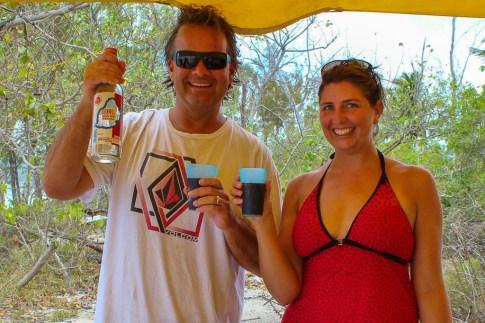 Kris and Sarah drinking rum in Mauritius