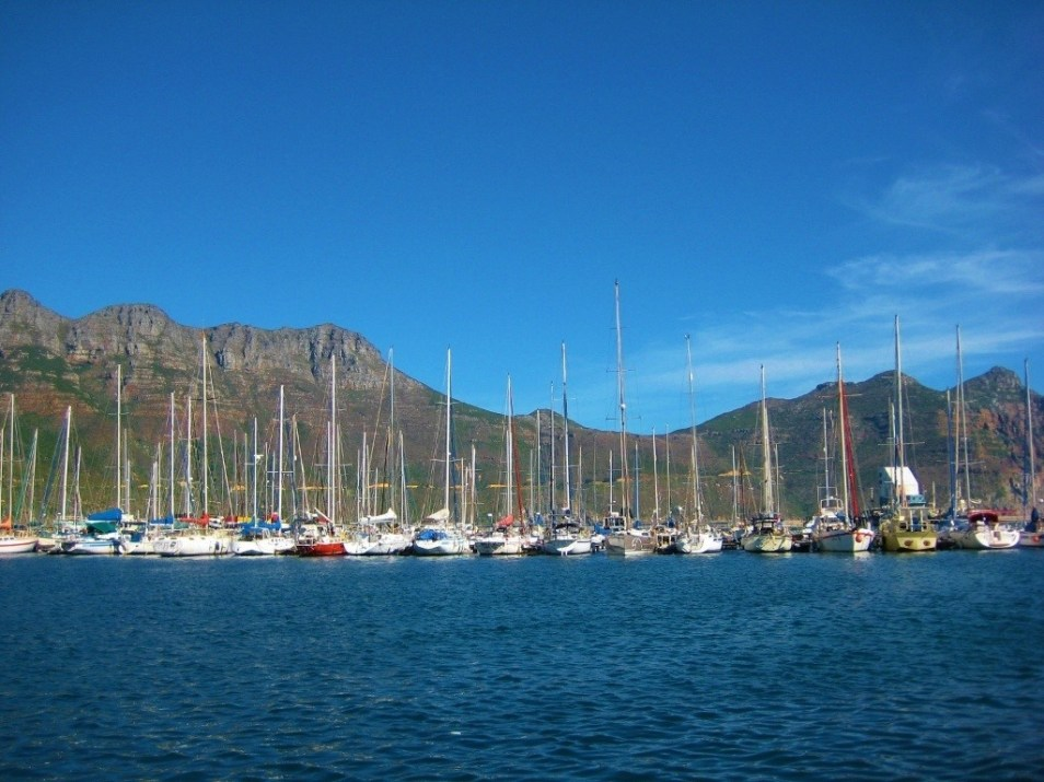 Sailboats at Marina in Hout Bay, Cape Town, South Africa