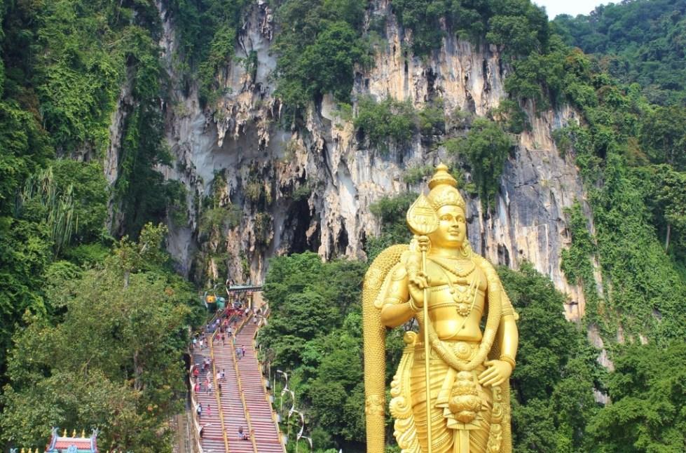 Gold Lord Murugan Statue at Batu Caves in Kuala Lumpur, Malaysia