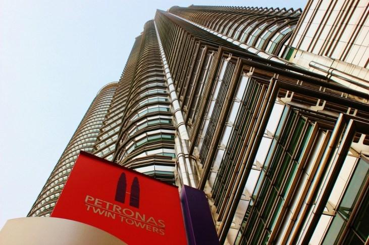 Looking up Petronas Twin Towers in Kuala Lumpur, Malaysia