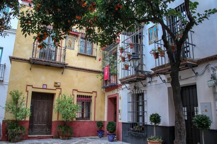 Too pretty! A square in Barrio Santa Cruz, Seville Spain