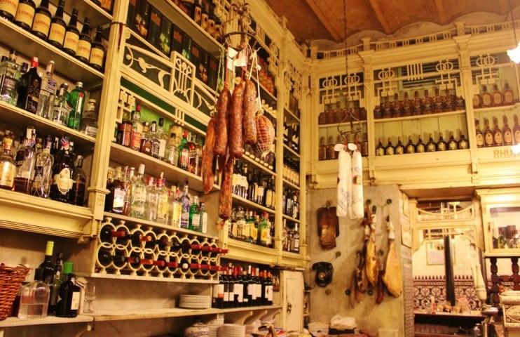 Historic bar at El Rinconcillo Sevilla tapas restaurant in Seville, Spain