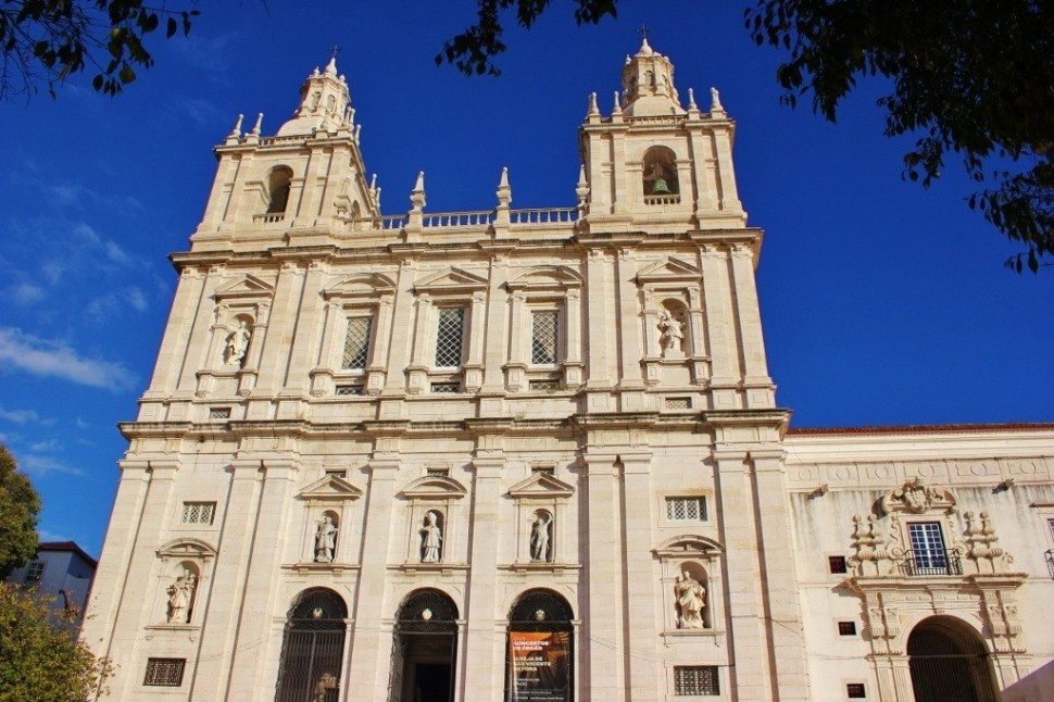 Facade of Sao Vicente de Fora in Lisbon, Portugal