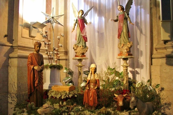Simple Nativity Scene at Our Lady of the Martyrs Church in Lisbon, Portugal