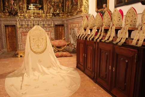 Clothing on display at Se Cathedral in Lisbon, Portugal