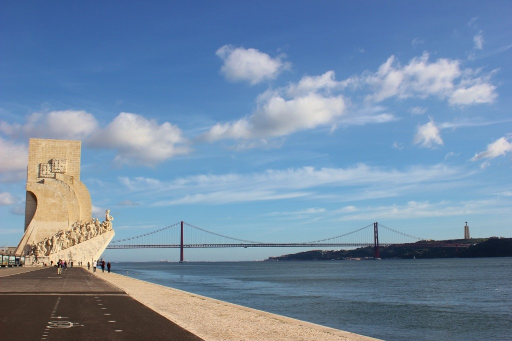 Wide Riverside path extending from Belem to Lisbon, Portugal