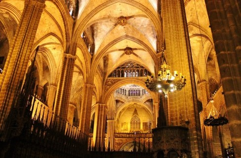 Spacious interior of La Catedral in Barcelona, Spain