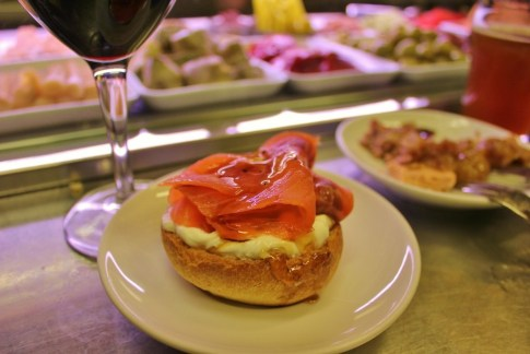 Recommended Salmon Honey Tapas at Quimet & Quimet in Barcelona, Spain