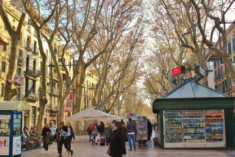 Pedestrian walkway, Las Ramblas, in Barcelona, Spain