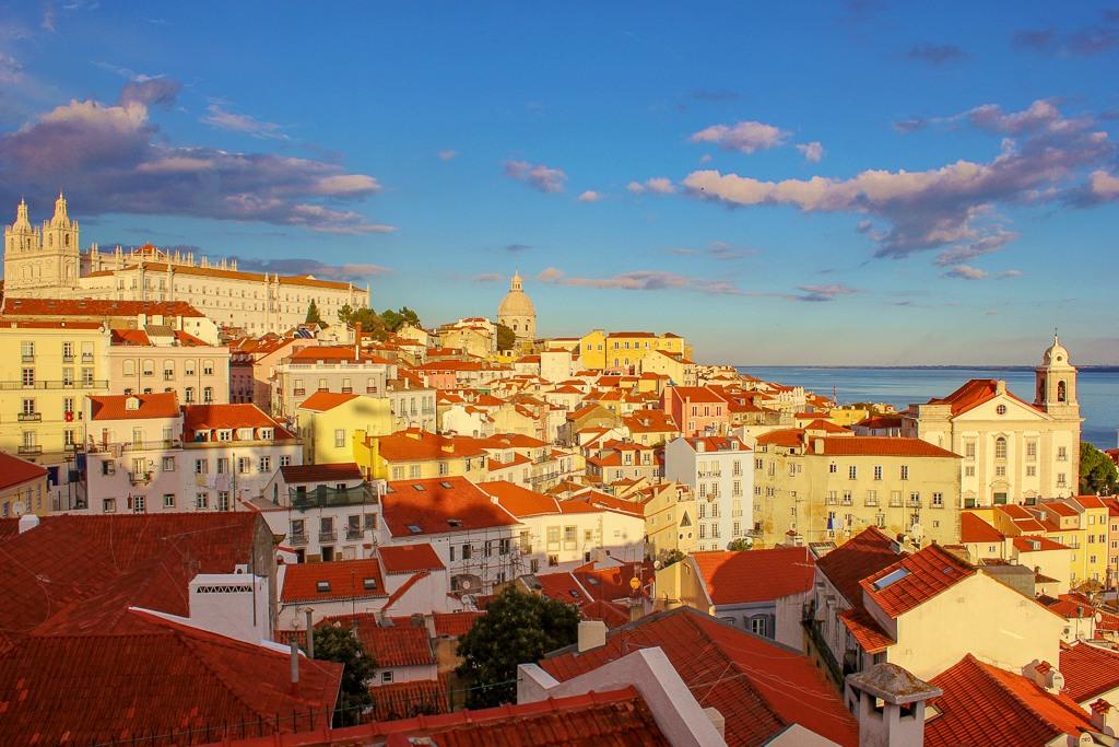 Colorful Alfama from Miradouro da Nossa Senhora do Monte, Lisbon Portugal