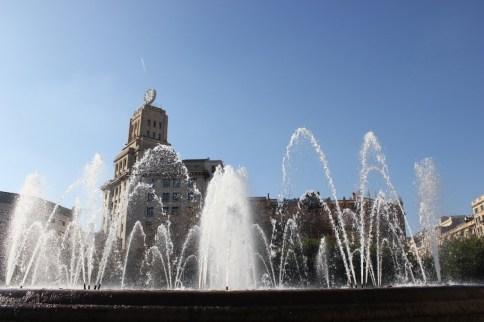 Fountain on Placa de Catalunya in Barcelona, Spain