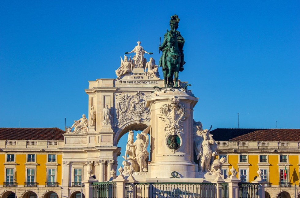 Arco da Rua Augusta on Praca do Comercio in Lisbon Portugal.