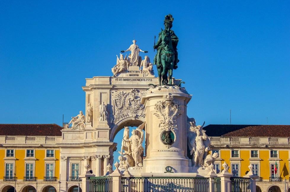 Arco da Rua Augusta on Praca do Comercio in Lisbon Portugal.