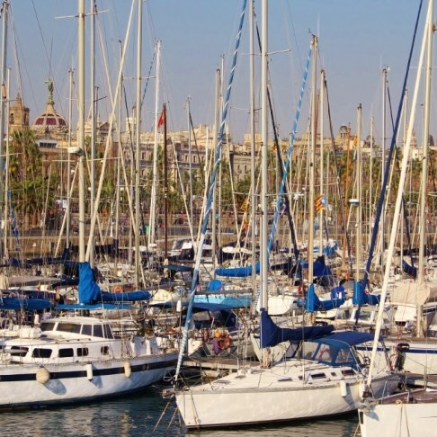Port Vell Sailboat Marina in Barcelona, Spain