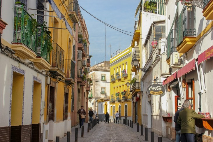 Charming streets to wander in of Triana, Seville Spain