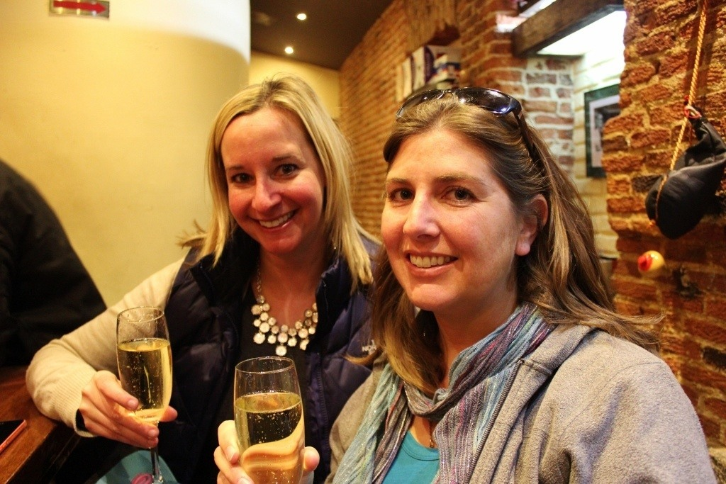 Lowercase and Sarah celebrating with Cava wine ~ closest thing to Champagne this NYE!
