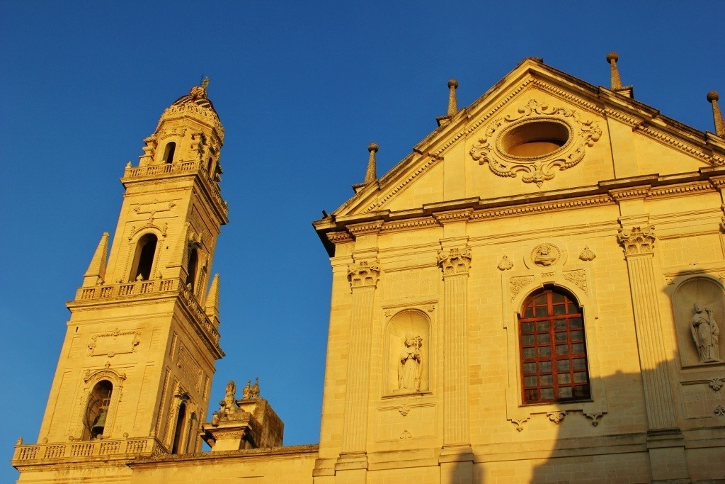 Piazza del Duomo in Lecce, Italy: Campanile - The bell tower and west facing facade of the cathedral