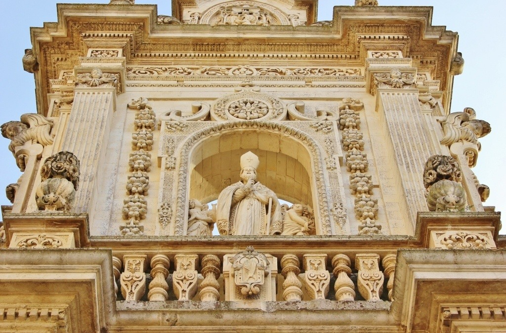 Piazza del Duomo in Lecce, Italy: Duomo - The ornately Baroque style of the main facade of the Cathedral