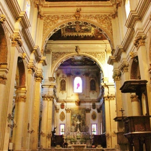 The main altar at the Duomo Cathedral in Lecce, Italy