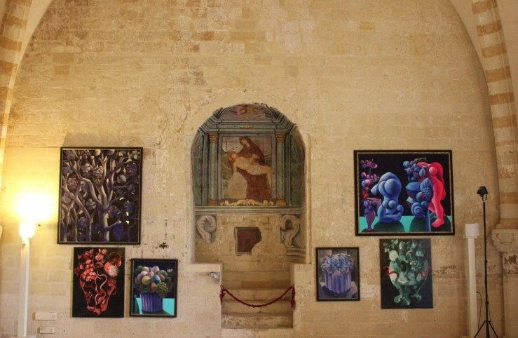 Artwork on display at Carlo V Castle in Lecce, Italy