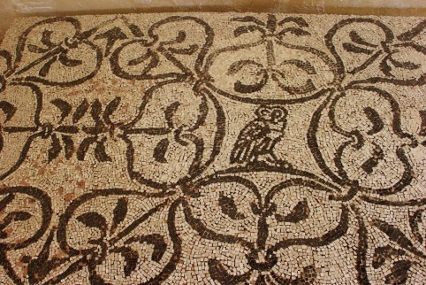 Stone mosaic display from Appian Way at Roman Theater Museum in Lecce, Italy