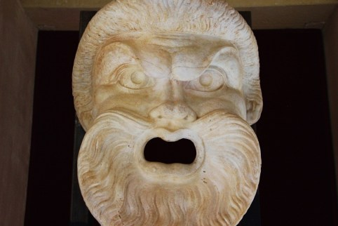 Theatrical Mask on display at Roman Theater Museum in Lecce, Italy