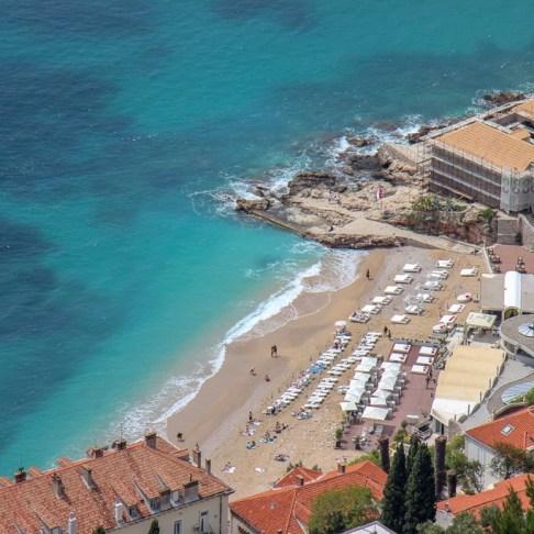 View to Banje Beach from Mount Srd in Dubrovnik, Croatia