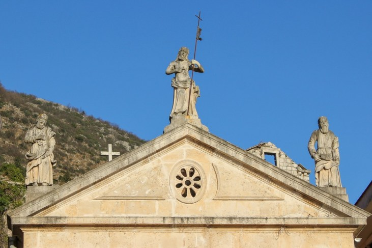Church Roof Statues and detail, Perast, Montenegro