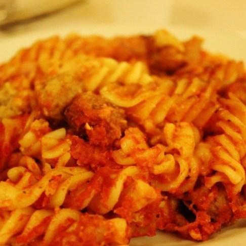 Pasta in tomato sauce at Osteria da Angiulino in Lecce, Italy