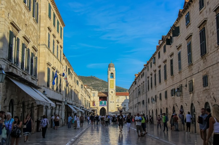 The famous Stradun and Bell Tower in Dubrovnik, Croatia