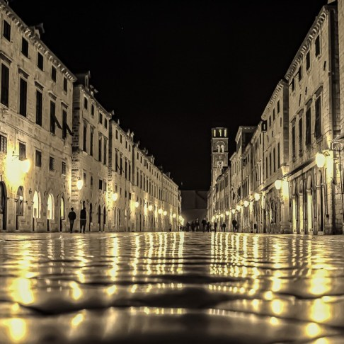 Empty Stradun street at night in Dubrovnik, Croatia