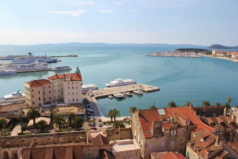 View from Split Bell Tower in Diocletian's Palace in Split, Croatia