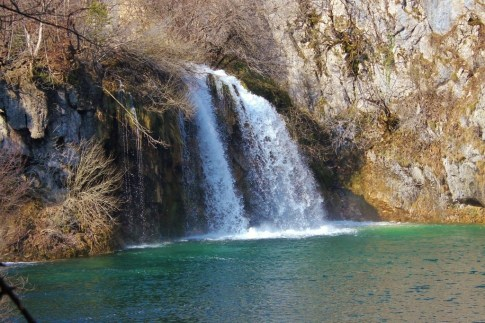 Small waterfall on Lower Lakes at Plitvice Lakes National Park in Croatia