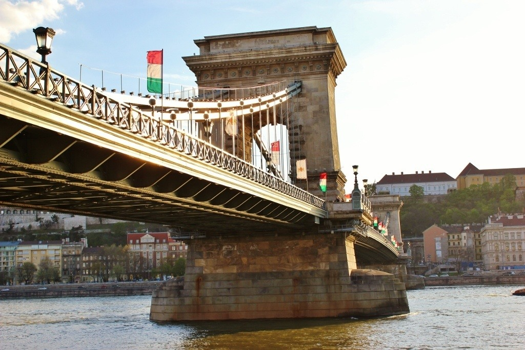Iconic Budapest sights: A view of Chain Bridge from the bank of the river.