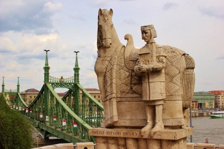 Gellert Hill statue of St. Istvan and Liberty Bridge