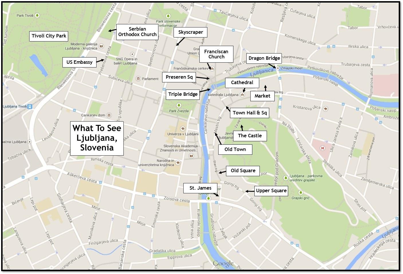 Map of Ljubljana Sights