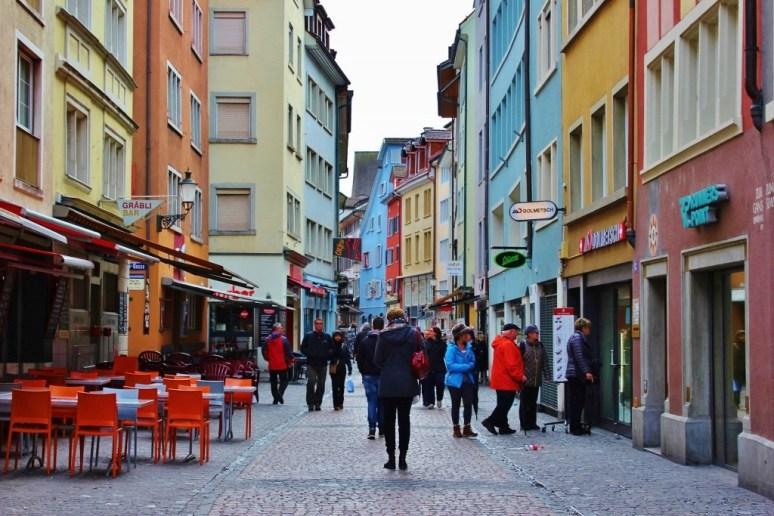 Niederdorfstrasse pedestrian street in Zurich, Switzerland JetSettingFools.com