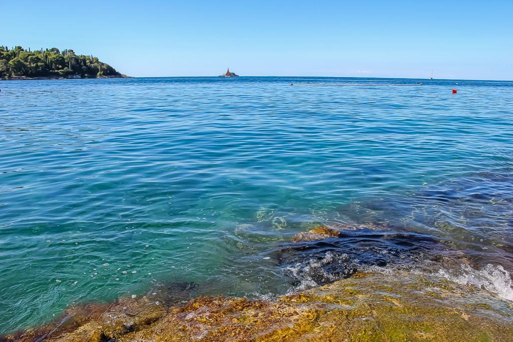 Teal blue Adriatic Sea in Rovinj, Croatia