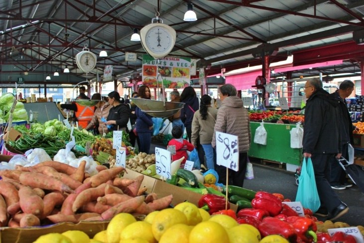 The Queen Victoria Market fresh produce stalls