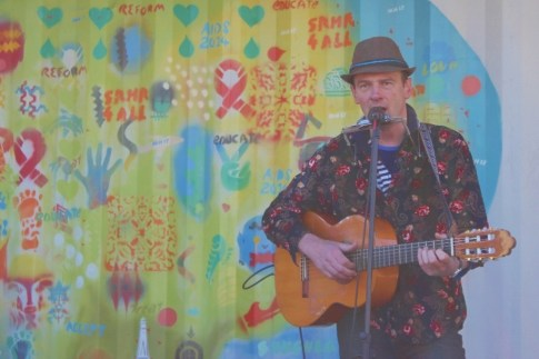 A singer performs Spanish style music at the Queen Victoria Market Euro Union event