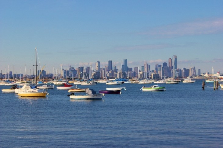 The Melbourne skyline as seen from Williamstown, Australia