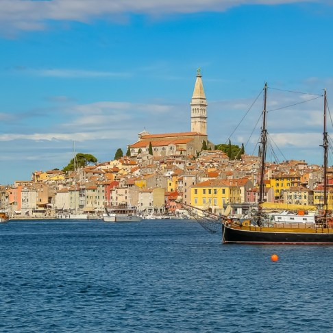 Boat and Old Town Rovinj, Croatia