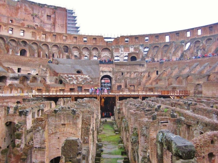 2000-year-old Colosseum where Gladiators fought in Rome, Italy