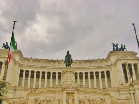 Statue of Italy's first king and Tomb of the Unknown Soldier at Victor Emmanuel Monument in Rome, Italy